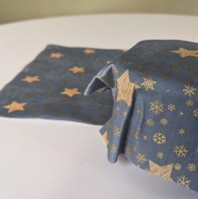 Vegan Wachstuch Plastikfrei einpacken abdecken Aufbewahrung Geschenk Weihnachten Nicolaus Adventskalender  Sterne Schneeflocken rot gold graublau