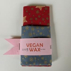 Vegan Wachstuch Plastikfrei einpacken abdecken Aufbewahrung Geschenk Weihnachten Nicolaus Adventskalender  Sterne Schneeflocken rot gold graublau (Kopie id: 100251832) (Kopie id: 1