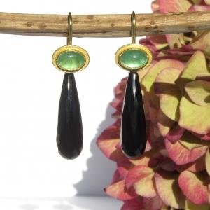 Einhänger Onyx-Tropfen und Gelbgold 750 für Ohrschmuck-Wechselsystem