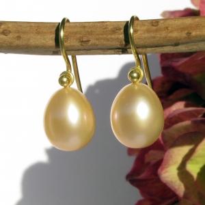 Einhänger Perltropfen und Gelbgold 750 für Ohrschmuck-Wechselsystem