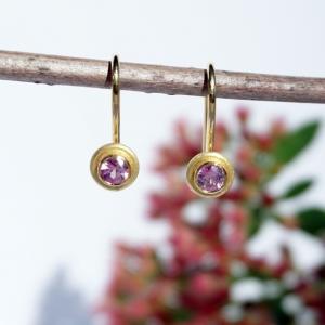 Ohrbügel rosa Saphir und Gelbgold 750 für Ohrschmuck-Wechselsystem - Handarbeit kaufen