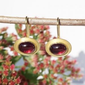 Ohrbügel Rhodolith und Gelbgold 750 für Ohrschmuck-Wechselsystem  - Handarbeit kaufen