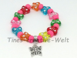 Kinder Armband, Mädchen, Kids, Holzperlen, Perlenarmband Strass, Kinderarmband, Geschenk, Geburtstag, Schmetterling