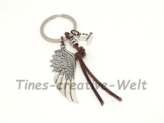 Schlüsselanhänger mit Engelsflügel, XL Flügel, Leder, Feder, Stiefel, Cowboy, Wechselanhänger, Taschenanhänger, Anhänger