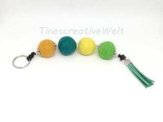 Schlüsselanhänger, Taschenanhänger, Filzperlen, Filzkugeln, Tassel, Leder, Wechselanhänger, Handschmeichler, Männer, XL Schlüsselanhänger - Handarbeit kaufen