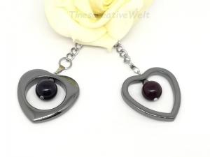 Taschenanhänger Herz aus Hämatit mit Achatperle, Halbedelstein, Gliederkette, Schlüsselanhänger, Anhänger, aubergine - Handarbeit kaufen