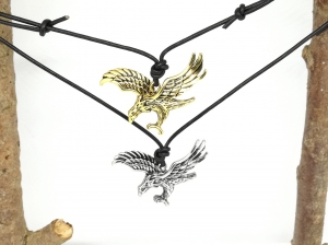 Lederkette mit Steinadler, Adler, echtes Leder, Männer, Männerschmuck, Geschenk für Männer, Kette mit Schiebeknoten, verstellbar