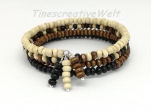 Armband mit Holzperlen, Holzschmuck, Holzarmband, Perlenarmband, Armband mehrreihig, Memory-Draht, Perlen, Geschenk, Geburtstag - Handarbeit kaufen