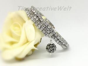 Armband mit Strass, Perlenarmband, Armband mehrreihig, Memory-Draht, Perlen, Geschenk, Geburtstag  - Handarbeit kaufen
