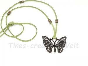 Kette Velourband, Schmetterling, Tier, Geburtstagsgeschenk, längenverstellbar, Geschenk für Frauen, bronzefarben, grün - Handarbeit kaufen