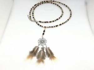 Kette Traumfänger, Holzkette, Perlen, Federn, Boho, Drahtschutz, Glücksbringer, Männerkette, Geschenk für Frauen, Geschenk für Männer, braun