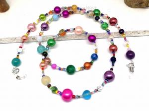 Kunterbunte Brillenkette aus Perlen, Glasperlen, Geschenk für Frauen