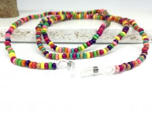 Kunterbunte Brillenkette mit Hozperlen, Holzkette, Holzschmuck, Kette, Schmuck, Geschenk für Frauen, Geschenk für Mädchen