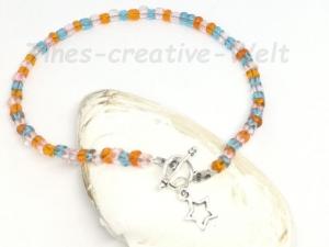 Fußkettchen mit Glasperlen auf Juwelierdraht aufgereiht, Geschenk für Frauen - Handarbeit kaufen