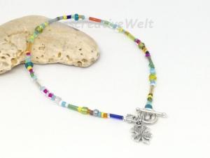 Fußkette, Fußkettchen mit Glasperlen, Perlen, Juwelierdraht, Kleeblatt, Glücksbringer, Knebelverschluss - Handarbeit kaufen