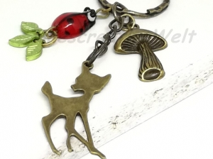 Schlüsselanhänger, Bronze, Reh, Marienkäfer, Pilz, Blätter, Anhänger, Taschenanhänger, Wechselanhänger - Handarbeit kaufen