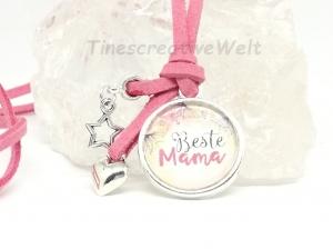 Kette, Glascabochon, beste Mama, Velourband, Geschenk für Mama - Handarbeit kaufen