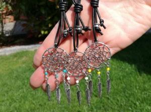 Schlüsselanhänger, Traumfänger, Leder, Boho, Taschenanhänger, Hippie, Geschenk Für Frauen und Männer - Handarbeit kaufen