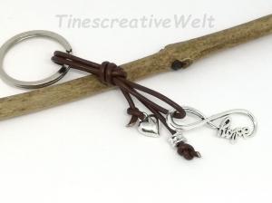 Infinity, Schlüsselanhänger, Leder, Unendlichkeit, Hope, Taschenanhänger, Geschenk