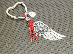 Schlüsselanhänger, Engelsflügel, Leder, Lederband, Flügel, Feder, Herz, Taschenanhänger, Wechelanhänger, Glücksbringer