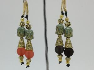 Ohrringe, Boho, Buddha, Hippie, Perlen, Ohrhänger, Ohrschmuck, spiritueller Schmuck, goldfarben - Handarbeit kaufen