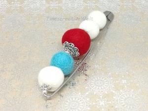 Anstecknadel aus Schurwolle mit Filzkugeln gefilzt, Geschenk für Frauen