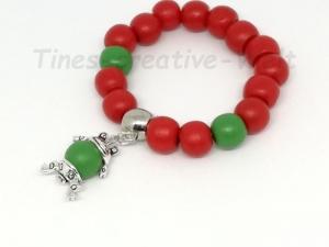 Armband, Kinder, Holzperlen, Frosch,Tier, Geburtstag, Geburtstagsgeschenk, rot, grün - Handarbeit kaufen