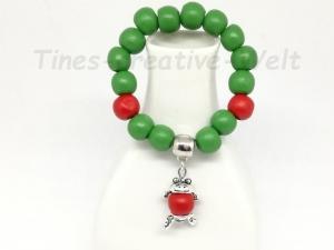 Armband, Kinder, Holzperlen, Frosch,Tier, Geburtstag, Geburtstagsgeschenk, grün, rot - Handarbeit kaufen