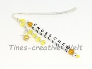 Lesezeichen, bömische Perlen, Schutzengel, Geschenk, Glücksbringer, Geburtstag, gelb - Handarbeit kaufen