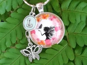 Personalisierter Schlüsselanhänger, Glascabochon, Elfe, Fee, Geschenk für Frauen