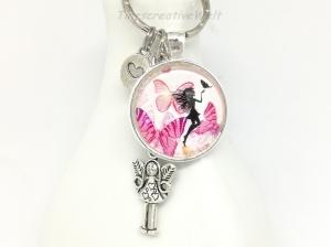 Schlüsselanhänger, Taschenanhänger, Glascabochon, Elfe, Fee, Geschenk für Frauen, Geschenk für Mädchen    - Handarbeit kaufen