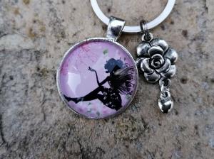 Schlüsselanhänger, Glascabochon, Elfe, Fee, Geschenk für Frauen - Handarbeit kaufen