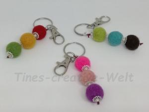Schlüsselanhänger, Taschenanhänger, Filzkugeln, Filz, Taschenanhänger, Wechselanhänger, Anhänger, Handschmeichler - Handarbeit kaufen