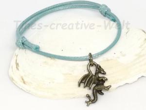 Armband, Drachen, Baumwollarmband, verstellbar, Schiebeknoten, Tier, blau, bronze - Handarbeit kaufen