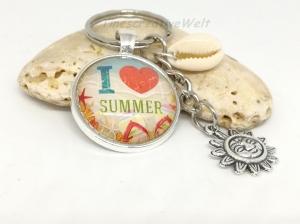 Schlüsselanhänger, Taschenanhänger, Glascabochon, Muschel, Sommer, Sonne, Strand - Handarbeit kaufen