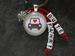 Schlüsselanhänger, Glascabochon, Auto, Glücksbringer, Kleeblatt