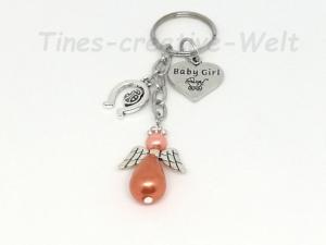 Schlüsselanhänger, Baby, Geburt, Mädchen, Schutzengel, Taschenanhänger, Glücksbringer, Geschenk Taufe - Handarbeit kaufen