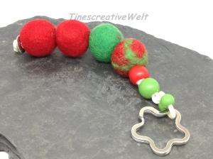 Schlüsselanhänger, Filz, Filzkugeln, Holzperlen, Taschenanhänger,  Handschmeichler, XL Schlüsselanhänger, Geschenk für Frauen und Männer - Handarbeit kaufen