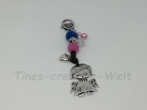 Schlüsselanhänger, Engel, Schutzengel, Filzkugeln, Filz, Lederband, Anhänger, Taschenanhänger, Wechselanhänger, rosa