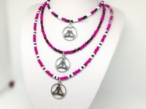 Kette, Rocailles, Yoga, Boho, Hippie, Perlen, Halsschmuck, Schmuck, Geschenk für Frauen, pink, schwarz, weiß