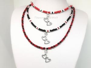 Kette, Rocailles, Perlen, Herz, Halsschmuck, Schmuck, Geschenk für Frauen, rot, schwarz, weiß - Handarbeit kaufen