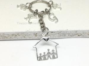 Personalisierbarer Schlüsselanhänger, Haus, Mutter, Vater, Kinder, Geschenk Eltern