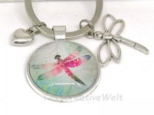 Schlüsselanhänger, Glascabochon, Libelle, Herz, Geschenk für Frauen - Handarbeit kaufen