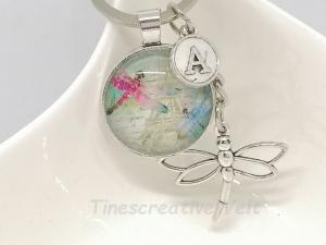 Personalisierbarer Schlüsselanhänger, Libelle, Glascabochon, Geschenk
