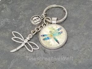 Personalisierbarer Schlüsselanhänger, Libelle, Glascabochon, Geschenk - Handarbeit kaufen
