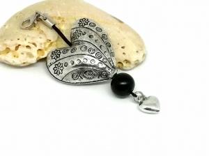 Anhänger, Herz, Amor, Kettenanhänger, Charm, Taschenanhänger, Geschenk für Frauen, schwarz, silber - Handarbeit kaufen
