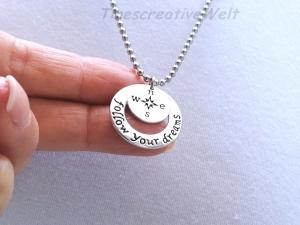 Kugelkette, Edelstahl,  Follow your Dream, Kompass, Glücksbringer, Geschenk für Männer, Geschenk für Frauen - Handarbeit kaufen