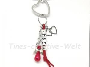 Schlüsselanhänger, Mama, Mum, Engel, Schutzengel, Velourband, Glücksbringer, Geburtstagsgeschenk, rot - Handarbeit kaufen