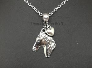 Kette, Pferd, Pferdekopf, Pferdekette, Herz, Glücksbringer, Tierliebhaber, Geschenk - Handarbeit kaufen