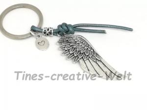 Schlüsselanhänger, Flügel, Engelsflügel, Lederband, Taschenanhänger, Geschenk für Männer und Frauen - Handarbeit kaufen